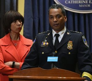 Baltimore Mayor Catherine E. Pugh listens as new Baltimore Police Department Commissioner Darryl DeSousa makes remarks at City Hall on Jan. 19 2018 in Baltimore, Md. (Kim Hairston/Baltimore Sun/TNS)