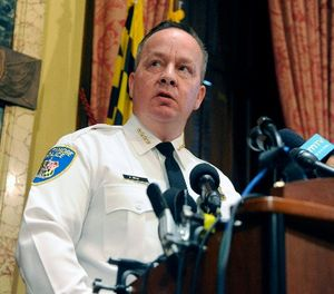 Baltimore Police Commissioner Kevin Davis delivers a statement during a news conference at City Hall in response to a Justice Department report that finds the Baltimore CIty Police Department has routinely violated the constitutional rights of residents Wednesday, Aug. 10, 2016 in Baltimore, Md. (Kim Hairston/Baltimore Sun/TNS)