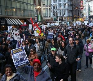 Sub.  Activist groups take over RandolphStreet as a protest, Justice for Laquan, marches as the city council meets, Wednesday, Dec. 9, 2015 in Chicago. (Brian Cassella/Chicago Tribune/TNS)