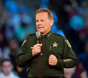 Broward County Sheriff Scott Israel speaks before the start of a CNN town hall meeting on Wednesday, Feb. 21, 2018, at the BB&T Center, in Sunrise, Fla. (Michael Laughlin/Sun Sentinel/TNS)
