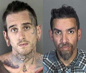 Derick Almena and Max Harris pleaded not guilty to the 36 felony counts; the jury trial is set for July 16. (Photo/AP)