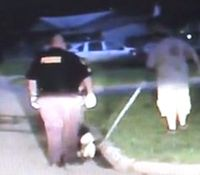 Video: Kan. man swings dog on leash at cops