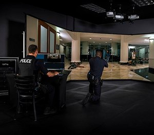 The VirTra V-300 wraps the trainee with five screens, providing 300 degrees of viewing area that must be continually assessed for threats. Dozens of multi-incident scenarios challenge officers' critical thinking skills, firearms skills and psychological preparation. (image/VirTra)