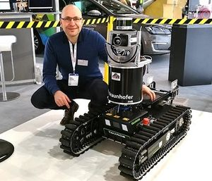 The SmokeBot utilizes gas sensors, radar, a laser scanner and a thermal camera to navigate through smoke and plot routes for firefighters. (Photo/Orebro University)