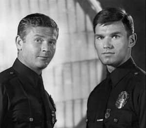 Adam-12 was about two LAPD police officers, veteran Pete Malloy played by Martin Milner (left) and rookie Jim Reed, played by Kent McCord. (Photo/WikiCommons)