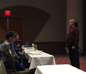 Rick Barney, MD is pictured speaking to attendees on addiction as a brain disease at Wis. EMS Association Conference. (Photo/Greg Friese)