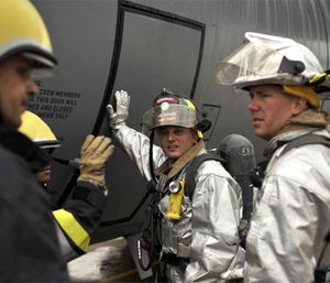 In addition to responding on Air Force bases, specialists assist civilian fire departments when needed. (Photo/U.S. Department of Defense)