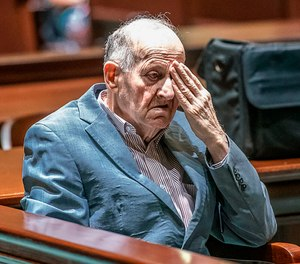 In a Monday, July 15, 2019 photo, Albert Flick, sits in court at his murder trial in Auburn, Maine. A jury convicted Flick on Wednesday in the 2018 death of 48-year-old Kimberly Dobbie. (Andree Kehn/Sun Journal via AP)
