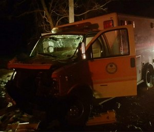 The crashed ambulance. (Photo/State Police Department)