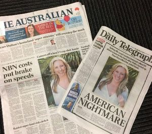Front pages of two Australian newspapers on Tuesday, July 18, 2017, featuring photos and story of the shooting death of Australia's Justine Damond. (AP Photo/Kristen Gelineau)
