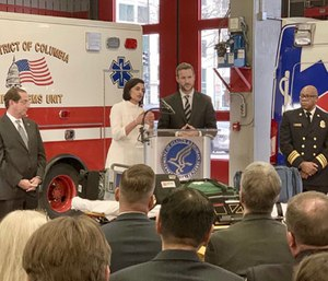 Officials from the Centers for Medicare and Medicaid Services, the U.S. Department of Health and Human Services announced the Emergency Triage, Treat and Transport (ET3) Model at a DC Fire & EMS station. (Photo/Twitter CMS)