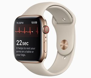 The Apple Watch's latest update includes an ECG app that monitors heart rate and checks for irregular rhythms. (Photo/Apple)