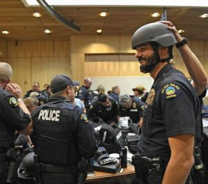Officers try on Shield 616 gear. (Photo/Helen H. Richardson, The Denver Post)