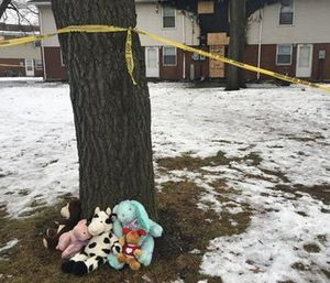 Stuffed animals lie at the foot of a tree near the scene of an apartment fire that took the lives of three children on Dec. 23, in Gary, Ind. (Lauren Cross/The Times of Northwest Indiana via AP)