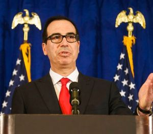 In this Sept. 21, 2017, file photo, Treasury Secretary Steve Mnuchin speaks at a news briefing at the Hilton Midtown hotel during the United Nations General Assembly, in New York. (AP Photo/Andres Kudacki, File)