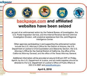 This Friday, April 6, 2018 image shows an FBI notice on the Backpage.com website. (AP Photo)