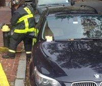 Hydrant blocked by BMW at Boston 3-alarm fire