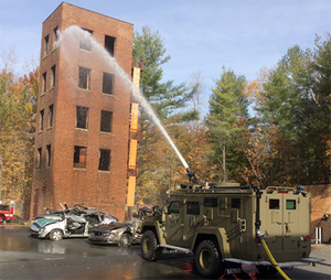 The BearCat Water Monitor in action. (Photo courtesy of Lenco Armored Vehicles)