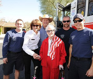 Betty Lee with Mesa firefighters. (Photo/Mesa Fire Department)