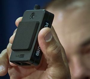 In this Jan. 30, 2018 file photo, a newly issued police body camera is shown during a NYPD news conference in New York. A New York appeals court has ruled that police body camera footage is subject to public disclosure under state law. (AP Photo/Bebeto Matthews, File)