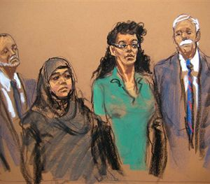 In this courtroom sketch, defendants Noelle Velentzas, center left and Asia Siddiqui, center right, appear in federal court with their attorneys, Thursday, April 2, 2015, in New York. (AP Image)