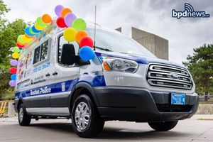 In this photo, the Boston Police Department's newest vehicle, adorned with balloons and Boston police decals, is shown. (Photo/Boston Police Department via Facebook)