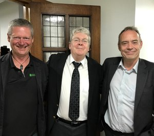 Gary Strong, National CPD Lead for the UK College of Paramedics; Prof. Brian Maguire; and Prof. Andy Newton; at a College of Paramedics presentation in London. (Photo/Courtesy of Brian Maguire)