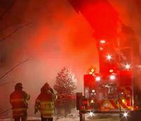 Minn. firefighters battle house blaze in brutal cold
