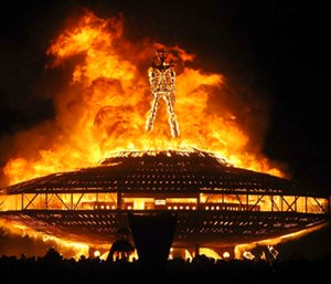 Aaron Joel Mitchell, 41, broke through a two-layer security perimeter during the Man Burn event in which a giant, wooden effigy is set ablaze. (Photo/AP)