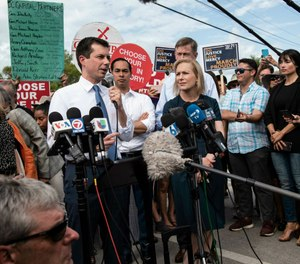 Democratic presidential candidate, Mayor Pete Buttigieg, makes a statement to media outside of the Homestead Detention Center on June 28, 2019. (Jennifer King/Miami Herald via AP)