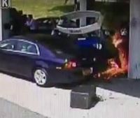 Video: Off-duty officer rescues driver in gas station explosion