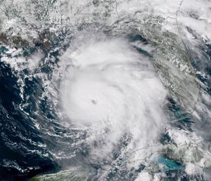 Gaining frightening fury overnight, Hurricane Michael closed in Wednesday on the Florida Panhandle with potentially catastrophic winds of 145 mph. (Photo/NOAA via AP)