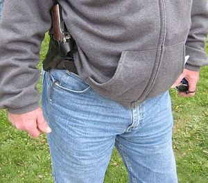 Remember that a firearm carried on your waist will allow you to employ the muscle memory and reflexes for drawing and weapon retention that you've been practicing for years. (Photo/Teknorat via WikiCommons)