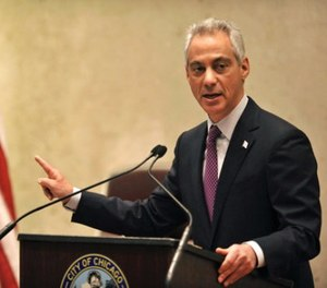 In this Dec. 9, 2015 file photo, Chicago Mayor Rahm Emanuel speaks during a special City Council meeting that he called to discuss a police abuse scandal, in Chicago. (AP Photo/Paul Beaty, File)