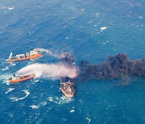 Firefighting boats work to put on a blaze on the oil tanker Sanchi in the East China Sea off the eastern coast of China. (Ministry of Transport via AP)