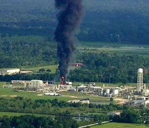 The Harris County Attorney's Office said Arkema Inc.'s facility in Crosby violated Texas environmental laws. (KTRK via AP)