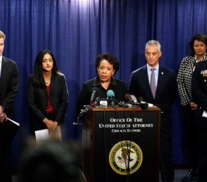 U.S. Attorney Zachary T. Fardon of the Northern District of Illinois; Principal Deputy Assistant Attorney General Vanita Gupta, head of the Justice Department's Civil Rights Division; Attorney General Loretta E. Lynch; Chicago Mayor Rahm Emanuel; and Superintendent Eddie T. Johnson of the Chicago Police Department hold a press conference on Jan. 13. (Photo/Jose Osorio/Chicago Tribune/TNS)