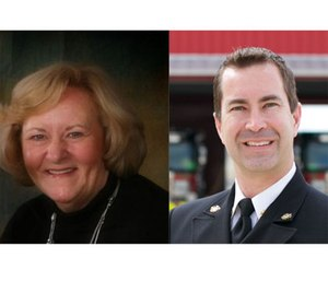 Chiefs Mary Beth Michos (left) and Chris Barron (right) give advice on what it takes to become Fire Chief of the Year. (Courtesy photos)