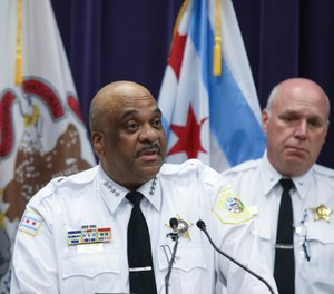 Chicago Police Superintendent Eddie Johnson speaks at a news conference Monday, June 3, 2019, in Chicago. (AP Photo/Teresa Crawford)