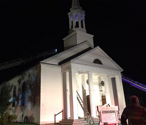 Onset Fire Department firefighter Conrad Fernandes battled a blaze at the same church where he was supposed to get married hours later. (Wareham Fire Department)
