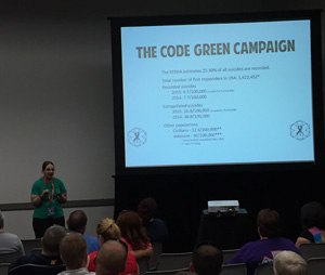 Ann Farina, Code Green Campaign president, presents statistics of emergency responder suicide. (Photo by Greg Friese)