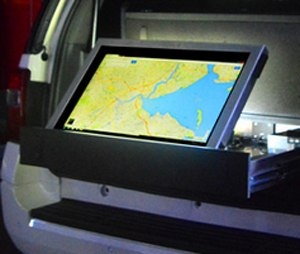 Echoboard provides command staff with real time data, communications, file sharing and analytics on a rugged touch-screen. (Photo courtesy Odyssey Specialty Vehicle)