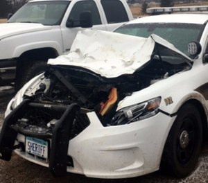 The deputy was treated and released, but the car is likely totaled. (Photo/Kanabec County Sheriff's Office)