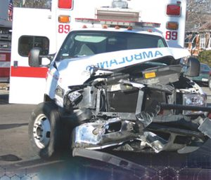 While transporting the patient to the long-term care facility, the ambulance is involved in a crash.(Courtesy photo)