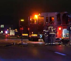 Firefighters shown responding to the scene of a crash involving a suspected drunk driver and a fire truck. (Photo/CBS Dallas)