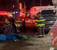 Video: 3 hurt after FDNY ambulance jumps curb