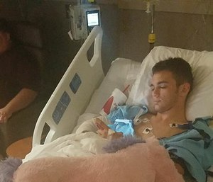 Daniel Wesley in his hospital bed. (Courtesy Photo)