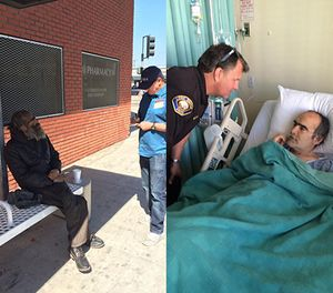 Pictured is David Milligan's first interaction with the Long Beach PD (left) and his treatment at a hospital (right). (Photos/Long Beach Police Department)