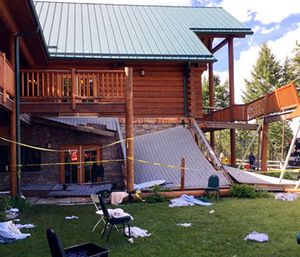 Authorities now say more than 30 people were taken to hospitals after the second-story deck of a Montana lodge collapsed during a memorial event for a firefighter. (Firefighter/Engineer Mathew Borlandelli/Somers/Lakeside Fire Department via AP)