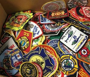 Lt. Jonathan Evans with MBFD said the department is donating hundreds of patches to Mileena that have been collected over the course of nearly 20 years. (Photo/ Myrtle Beach Fire Dept.)